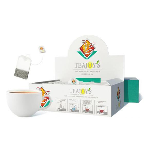 Чай Teajoy's зеленый байховый китайский с жасмином, 100 пакетиков