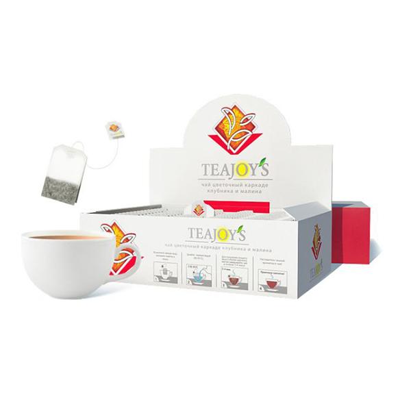 Чай Teajoy's цветочный каркаде с клубникой и малиной, 100 пакетиков