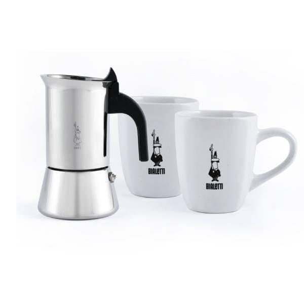 Набор гейзерная кофеварка Bialetti 4 чашки и 2 кружки по 330 мл